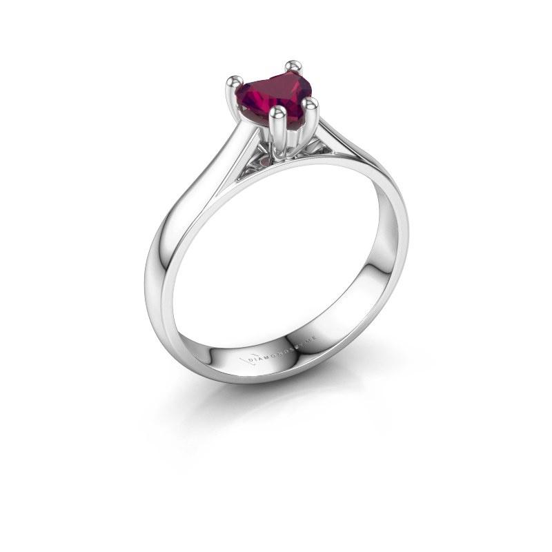 Engagement ring Sam Heart 925 silver rhodolite 5 mm