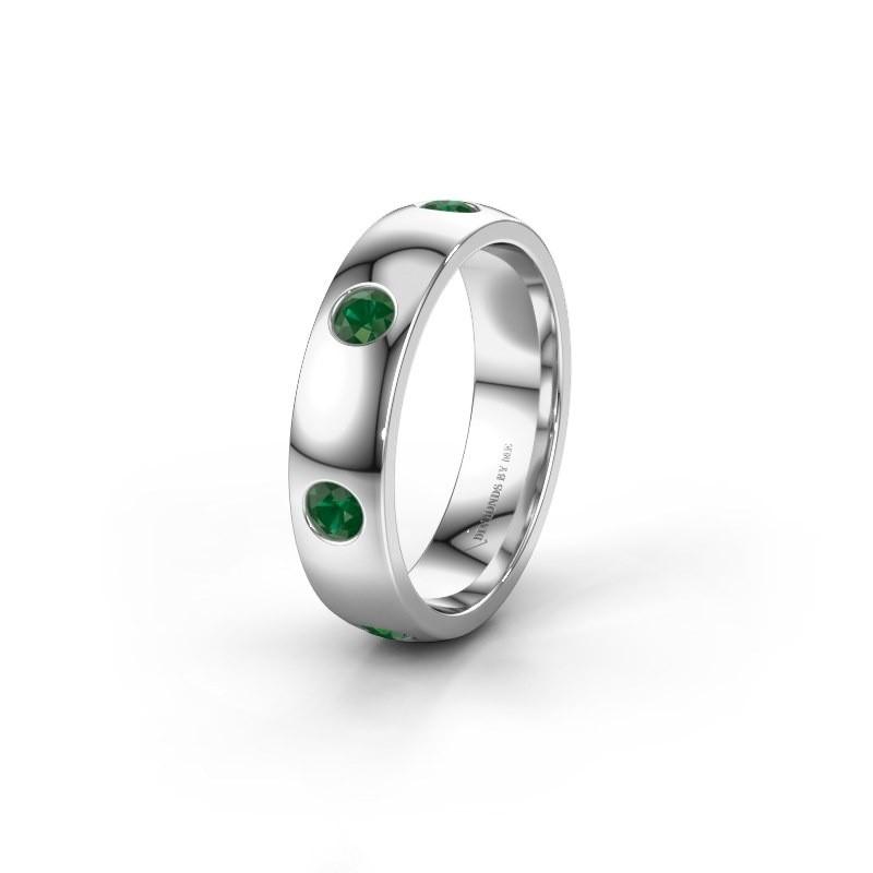 Trouwring WH0105L25BP 925 zilver smaragd 3 mm ±5x2 mm