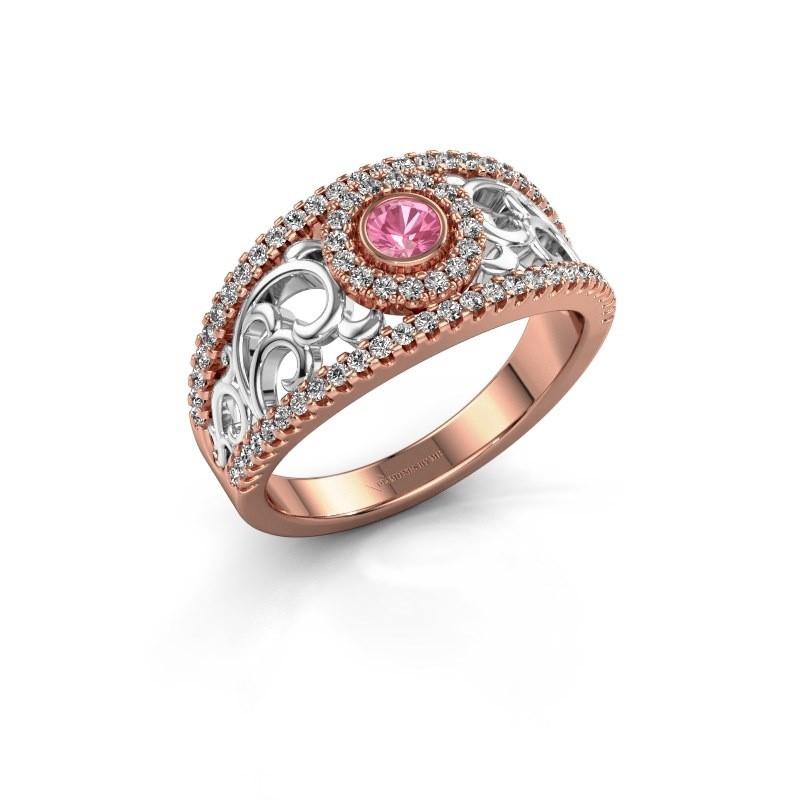 Verlovingsring Lavona 585 rosé goud roze saffier 3.4 mm