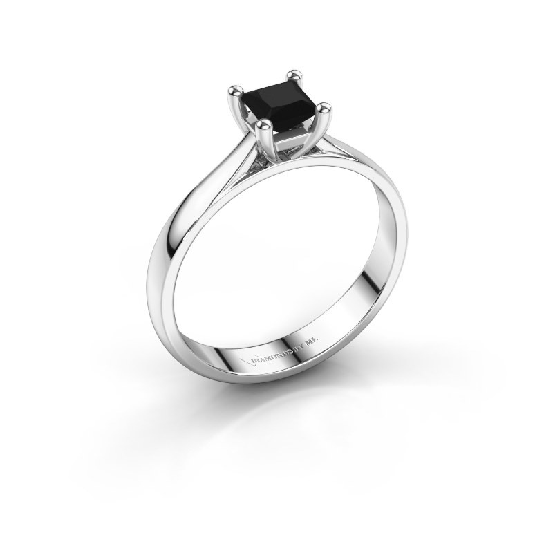 Bague de fiançailles Sam Square 585 or blanc diamant noir 0.48 crt