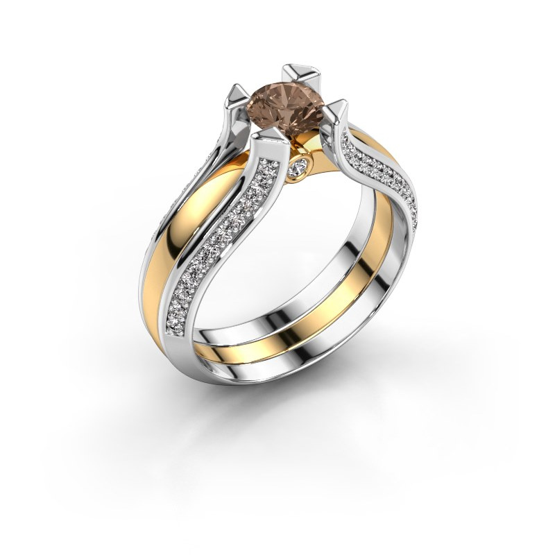 Engagement ring Nadine 585 gold brown diamond 0.86 crt