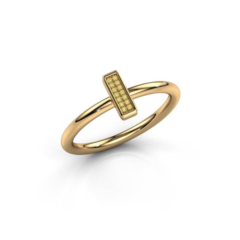 Ring Shape stripe small 375 goud gele saffier 0.8 mm