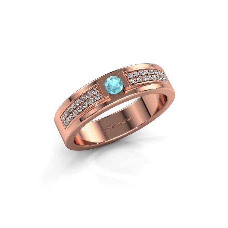 Ring Chanell 375 rosé goud blauw topaas 3 mm