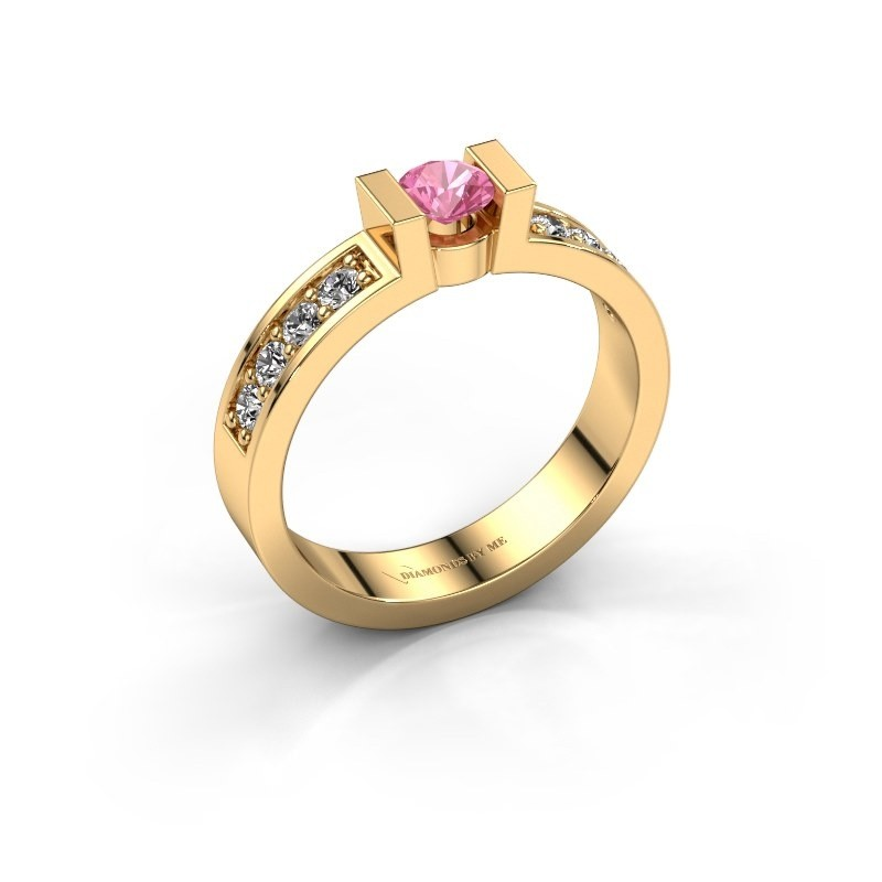 Verlovingsring Lieve 2 585 goud roze saffier 4 mm