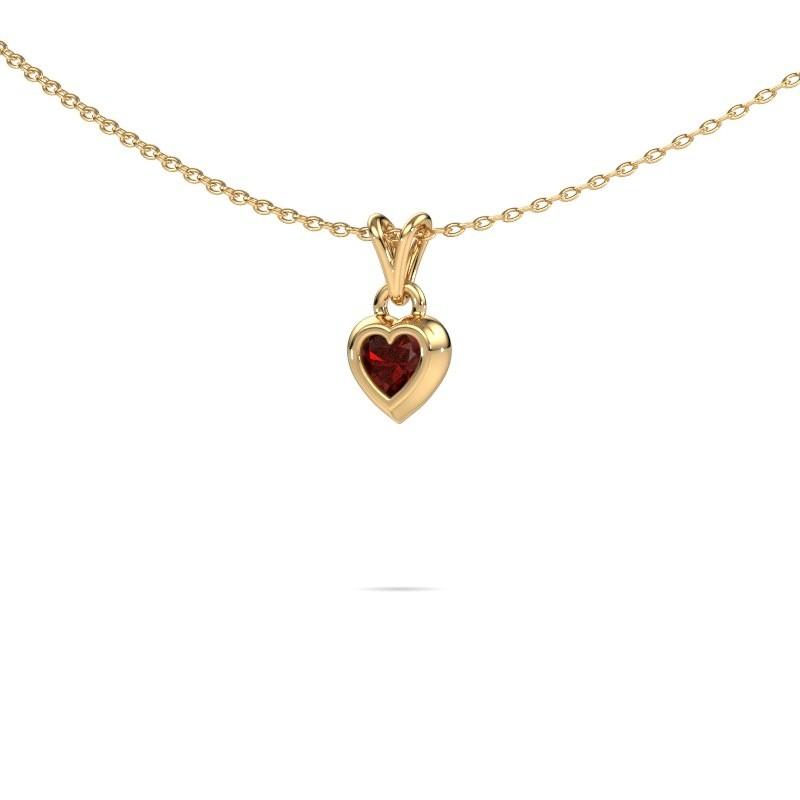 Hanger Charlotte Heart 585 goud granaat 4 mm