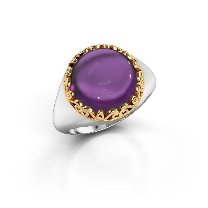 Ring Birgit 585 witgoud amethist 12 mm