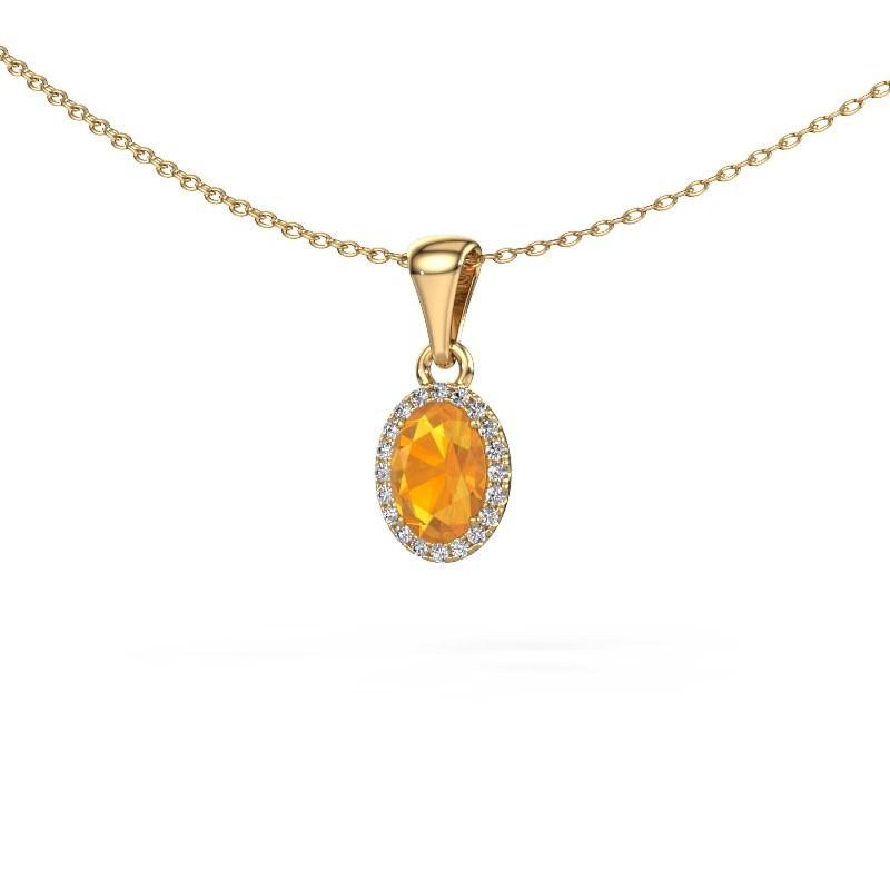 Hanger Seline ovl 585 goud citrien 7x5 mm