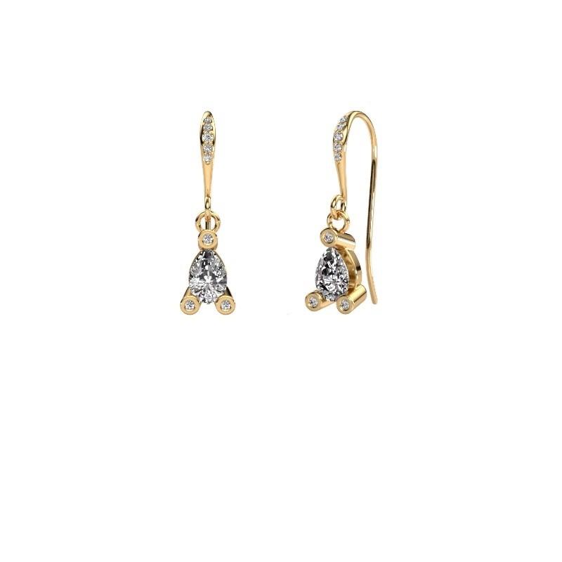 Drop earrings Bunny 2 585 gold zirconia 7x5 mm