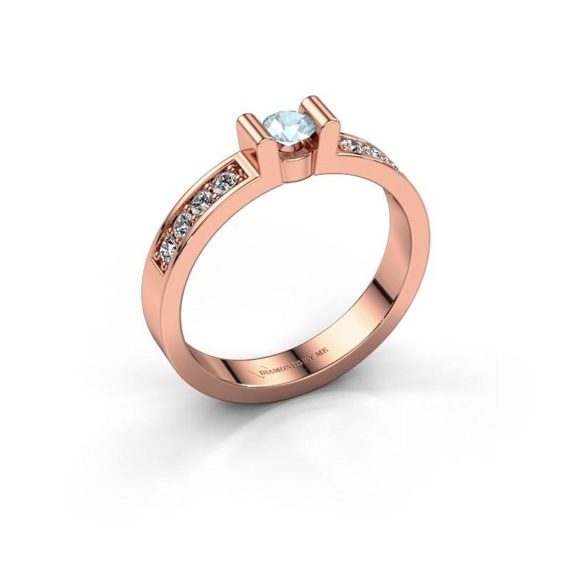 Verlovingsring Sofie 2 375 rosé goud aquamarijn 3.4 mm