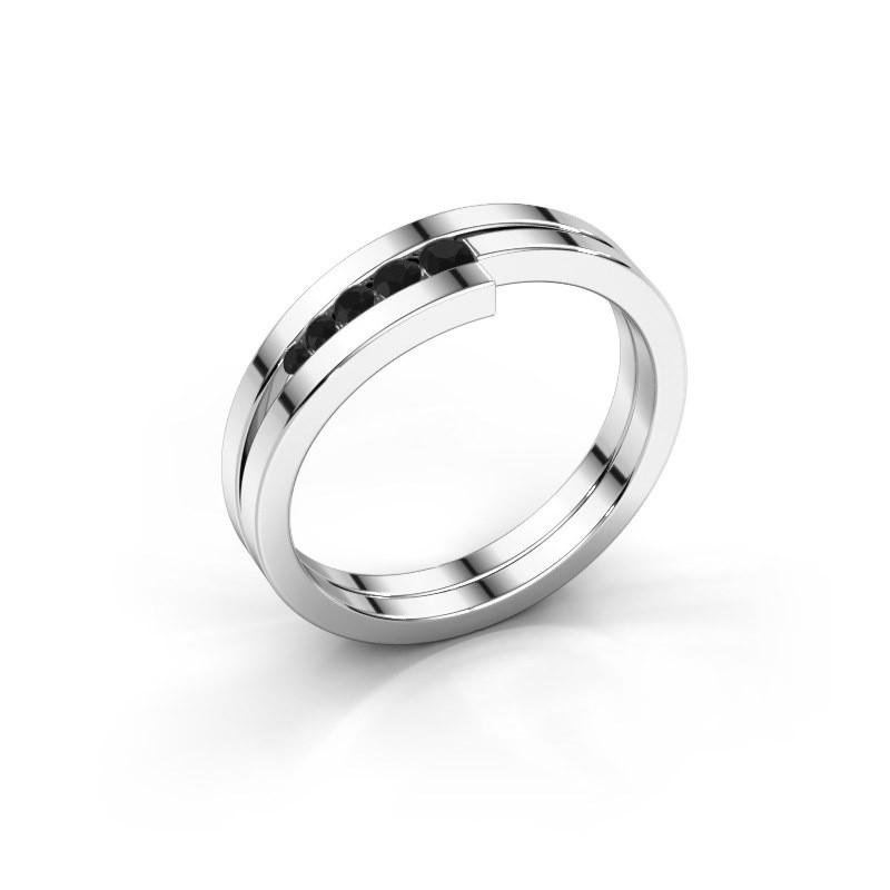 Bague Cato 925 argent diamant noir 0.15 crt