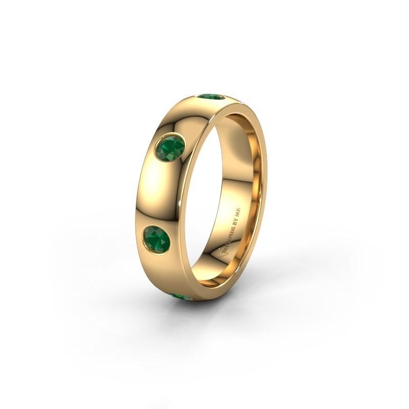 Trouwring WH0105L25BP 375 goud smaragd 3 mm ±5x2 mm