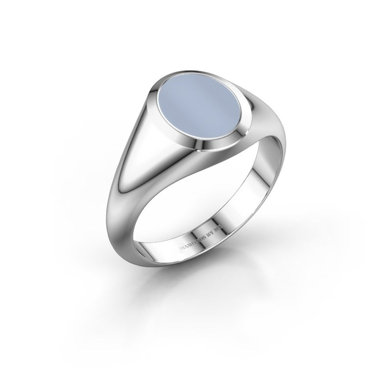 Signet ring Evon 1 950 platinum light blue sardonyx 10x8 mm
