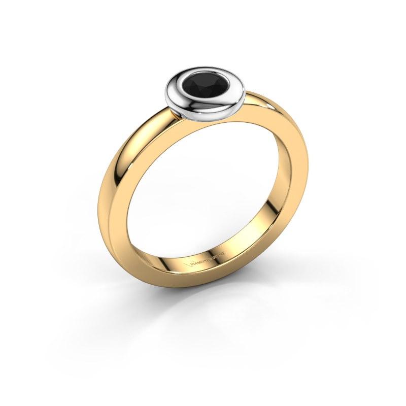 Ring Iris 585 gold black diamond 0.30 crt
