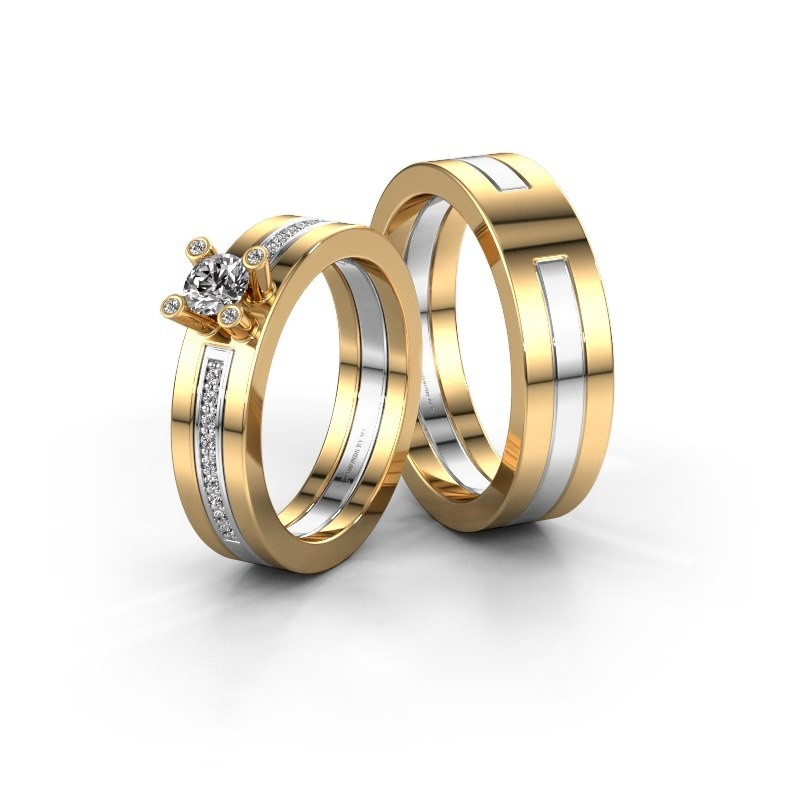 Eheringe set WHR0530LM16BP ±6x2 mm 14 Karat Gold Diamant 0.25 crt