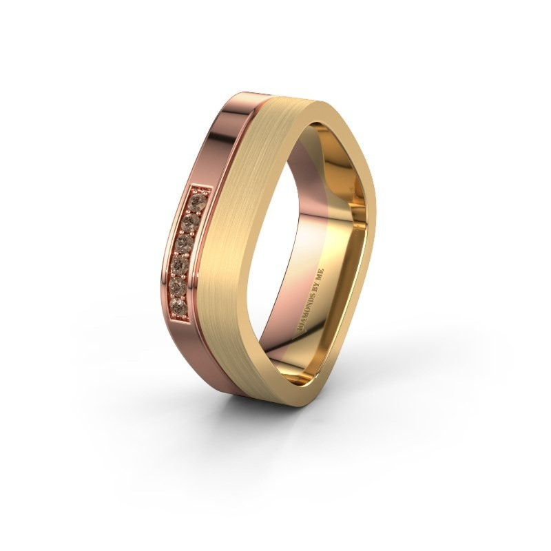 Wedding ring WH6030L16A 585 rose gold brown diamond ±6x1.7 mm