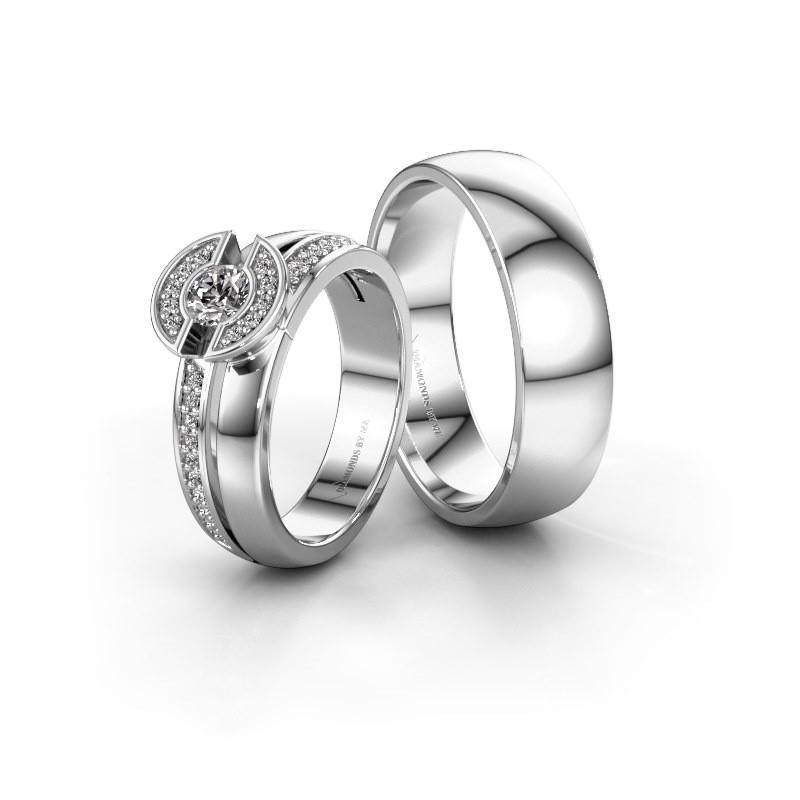 Trouwringen set WHR0451LM26AP ±6x2 mm 14 karaat witgoud diamant 0.25 crt