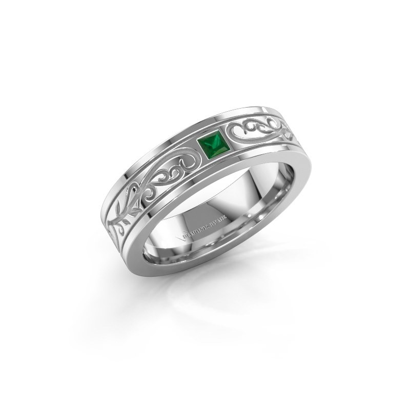 Heren ring Matijs 950 platina smaragd 3 mm