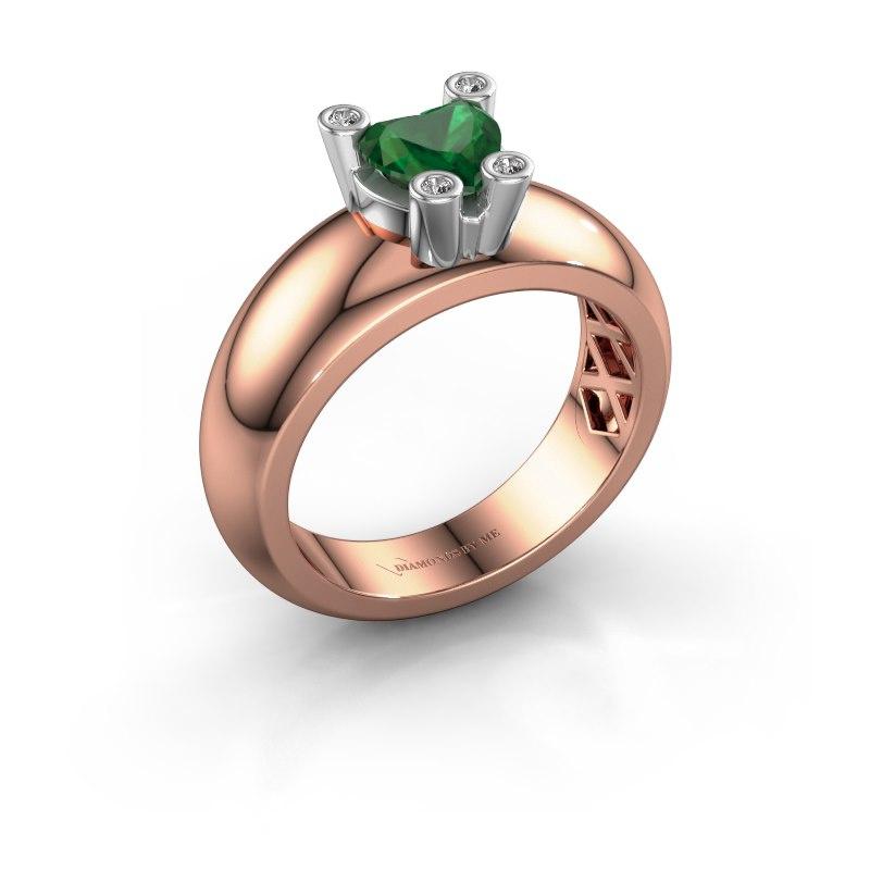 Ring Cornelia Heart 585 rose gold emerald 6 mm