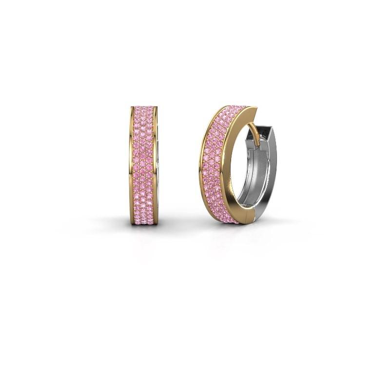 Creolen Renee 6 12 mm 585 goud roze saffier 1 mm