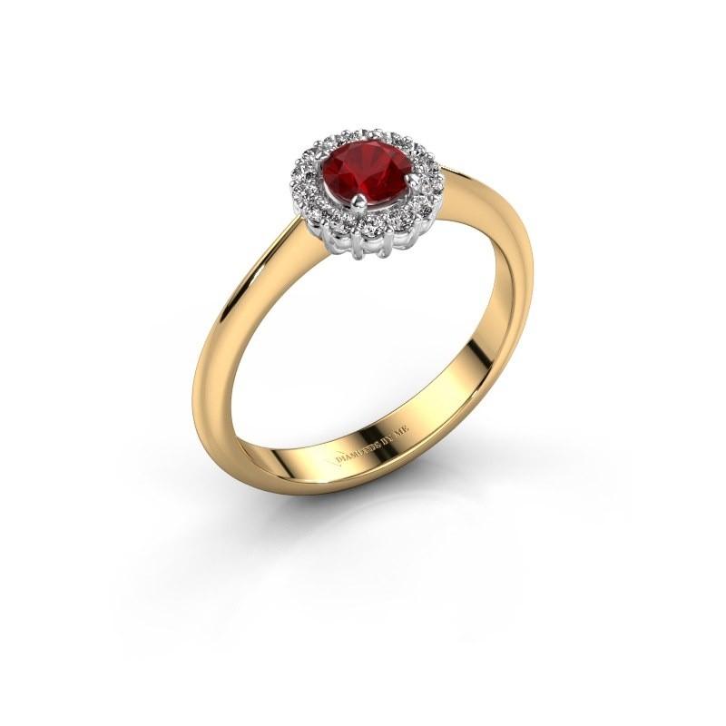 Verlovingsring Anca 585 goud robijn 4.2 mm