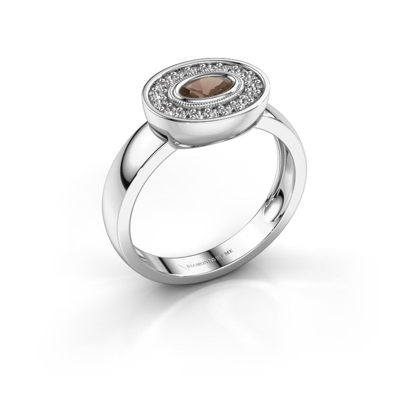Ring Azra 925 silver smokey quartz 5x3 mm
