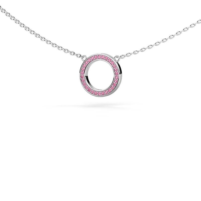 Hanger Round 1 925 zilver roze saffier 0.8 mm