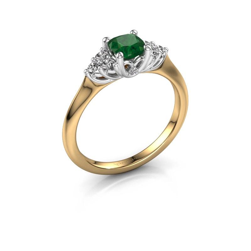 Verlovingsring Felipa CUS 585 goud smaragd 5 mm