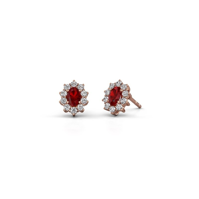 Earrings Leesa 375 rose gold ruby 6x4 mm