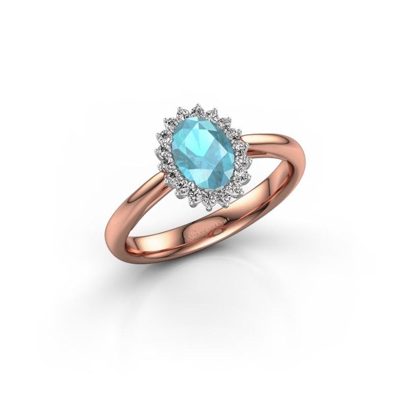 Verlovingsring Tilly 1 585 rosé goud blauw topaas 7x5 mm