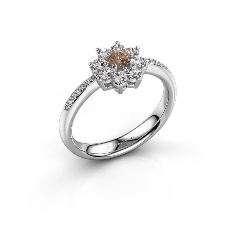 Verlobungsring Camille 2 585 Weißgold Braun Diamant 0.15 crt