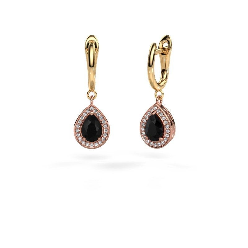 Drop earrings Ginger 1 585 rose gold black diamond 1.78 crt