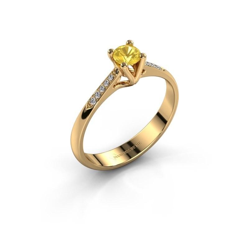 Promise ring Janna 2 375 goud gele saffier 4 mm
