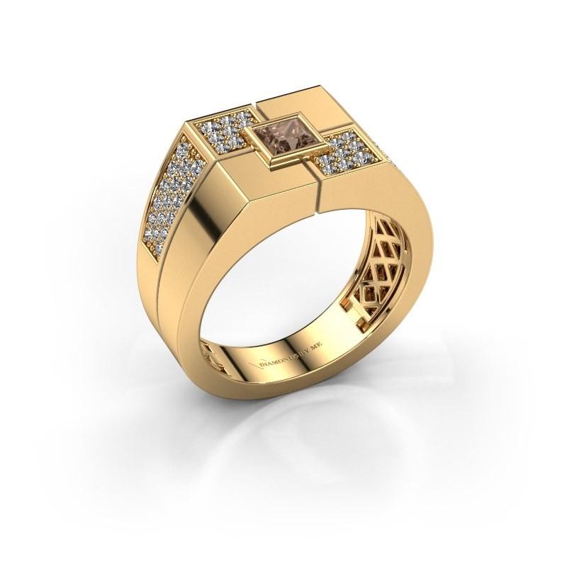 Men's ring Rogier 585 gold brown diamond 0.922 crt