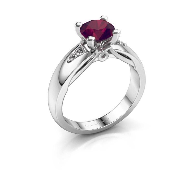 Engagement ring Ize 585 white gold rhodolite 6.5 mm