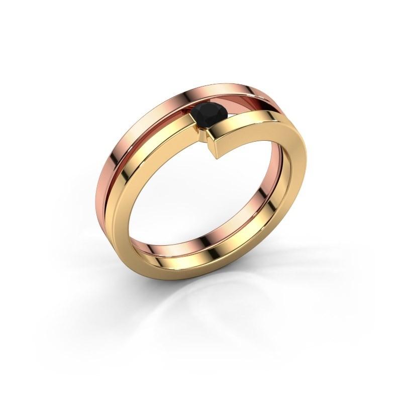 Ring Nikia 585 rosé goud zwarte diamant 0.18 crt