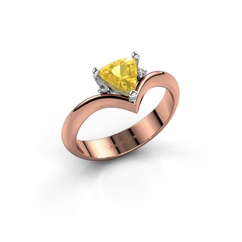 Ring Arlette 585 rosé goud gele saffier 7 mm