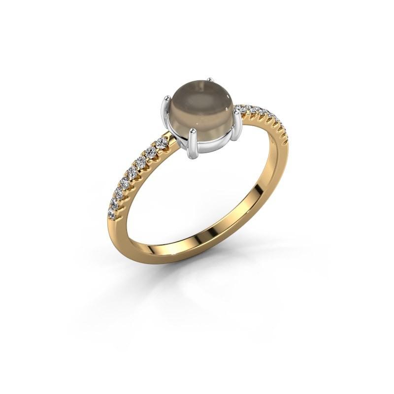 Ring Cathie 585 goud rookkwarts 6 mm