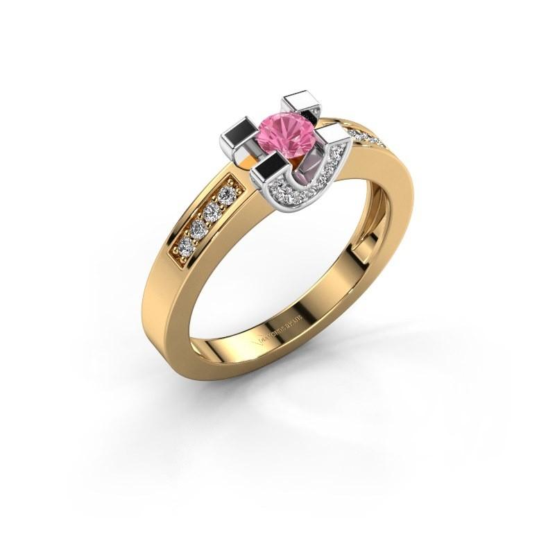 Verlovingsring Jasmijn 2 585 goud roze saffier 4 mm