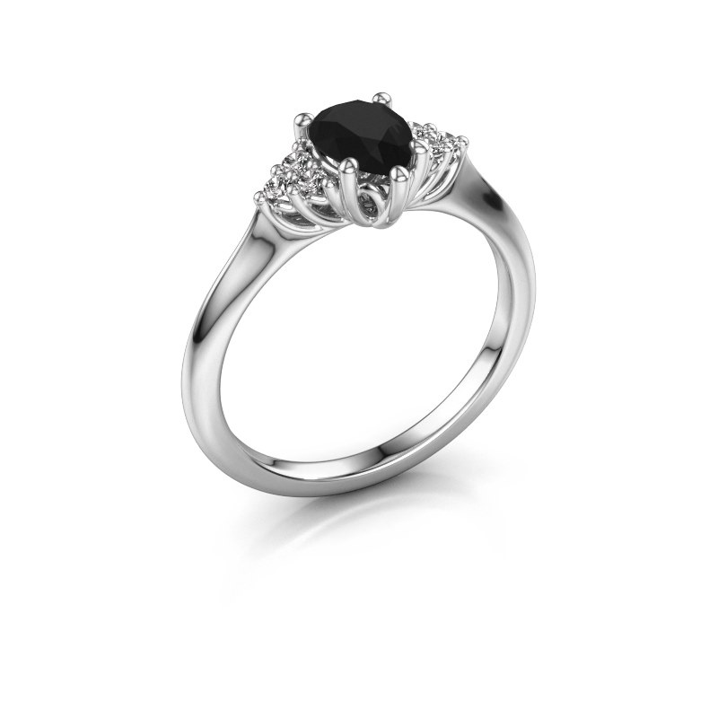 Verlovingsring Felipa per 585 witgoud zwarte diamant 1.115 crt