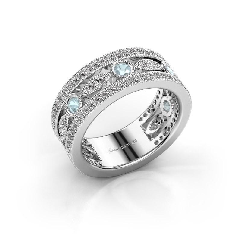 Ring Jessica 585 witgoud aquamarijn 2.5 mm