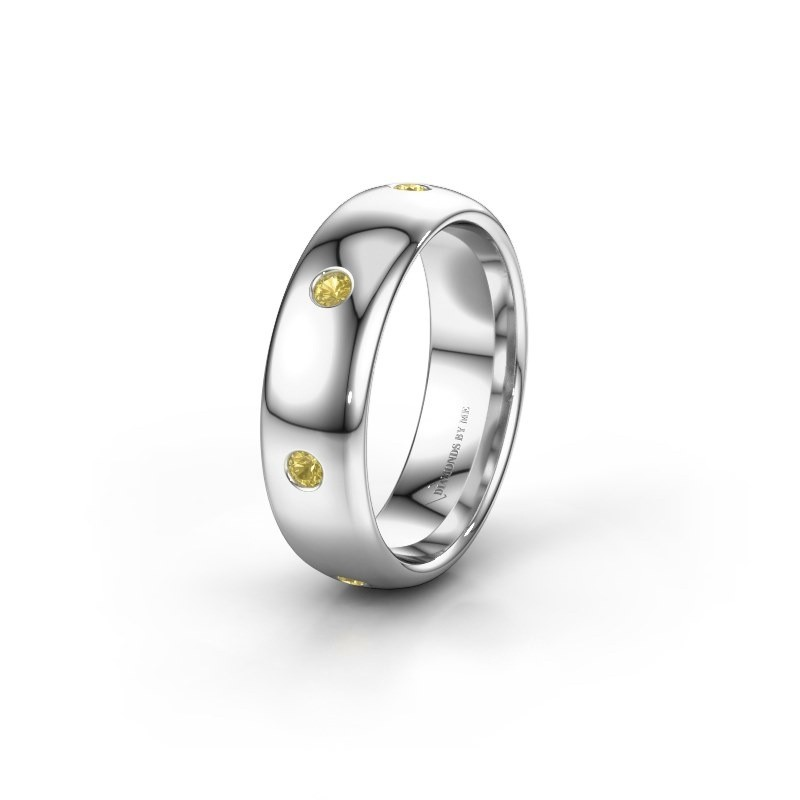 Wedding ring WH0105L36BP 585 white gold yellow sapphire ±6x2 mm