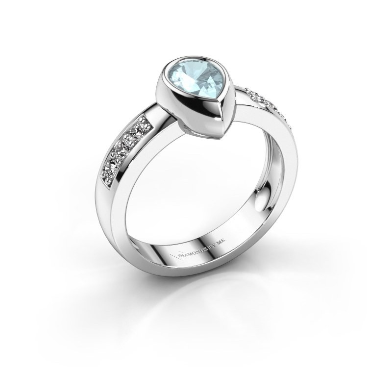 Ring Charlotte Pear 925 Silber Aquamarin 8x5 mm