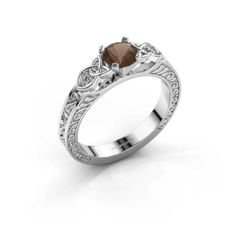Engagement ring Gillian 585 white gold smokey quartz 5 mm