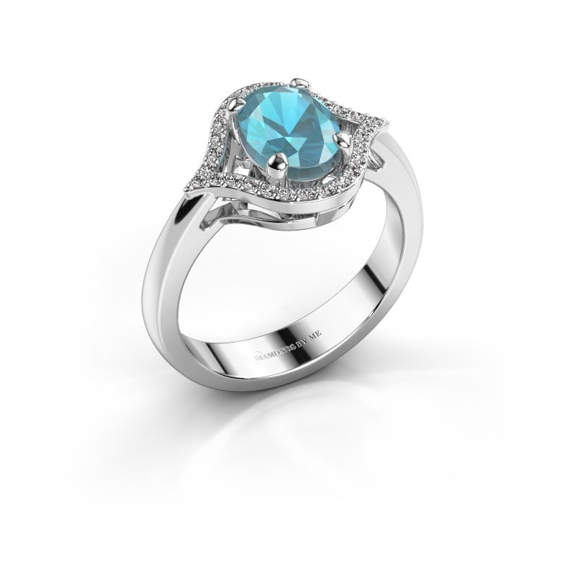 Ring Mendy 585 witgoud blauw topaas 8x6 mm