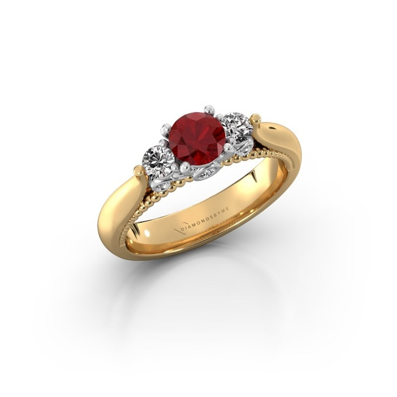 Verlovingsring Tiffani 585 goud robijn 5 mm