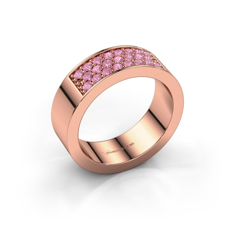 Ring Lindsey 5 375 rose gold pink sapphire 1.7 mm