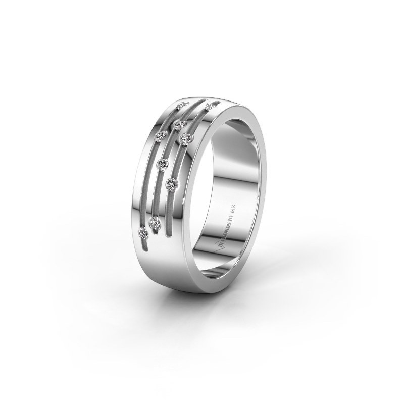 Wedding ring WH0134L26B 375 white gold lab-grown diamond ±6x2 mm