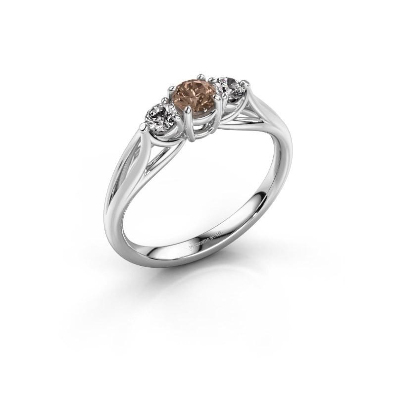 Verlovingsring Amie RND 950 platina bruine diamant 0.50 crt