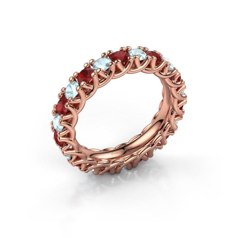 Ring Fenna 585 rosé goud robijn 3 mm