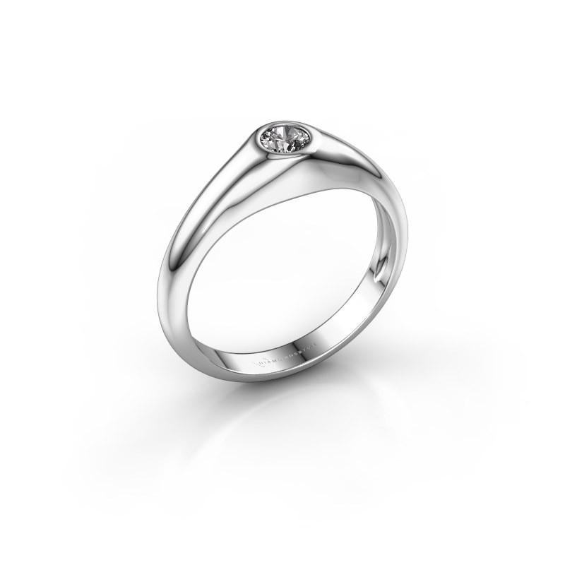 Pinky ring Thorben 375 white gold zirconia 4 mm